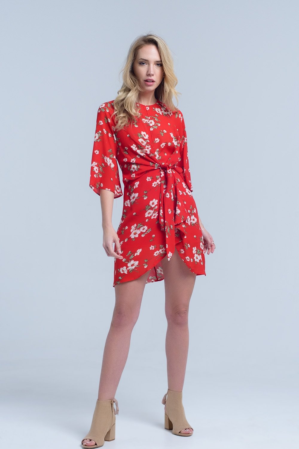 Red Floral Print Midi Dress in Chiffon