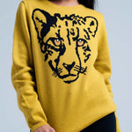 Mustard Knitted Sweater With Leopard