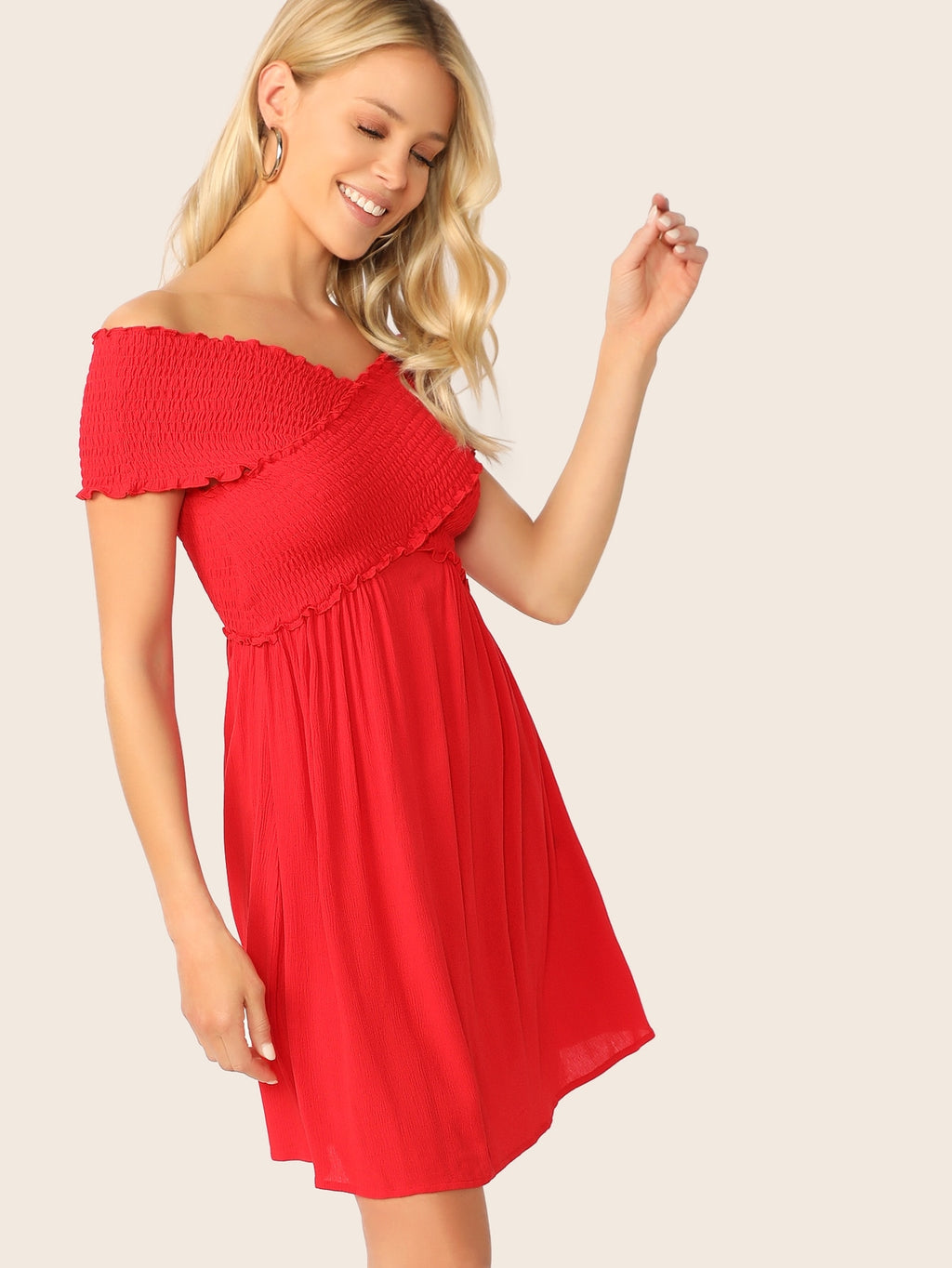 Shirred Cross Wrap Bodice Frilled Dress