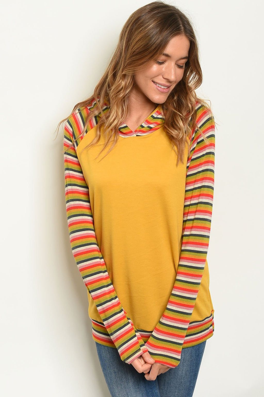 Womens Mustard Stripes Top