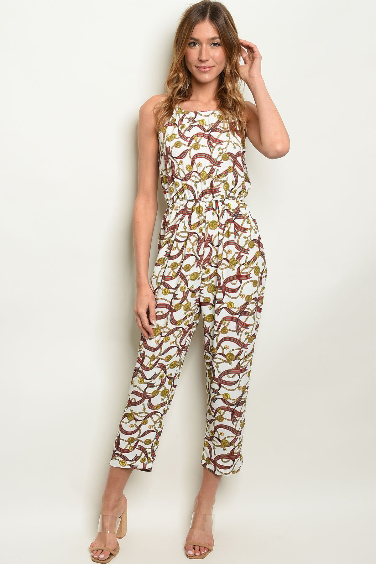 Off White Print Jumpsuit
