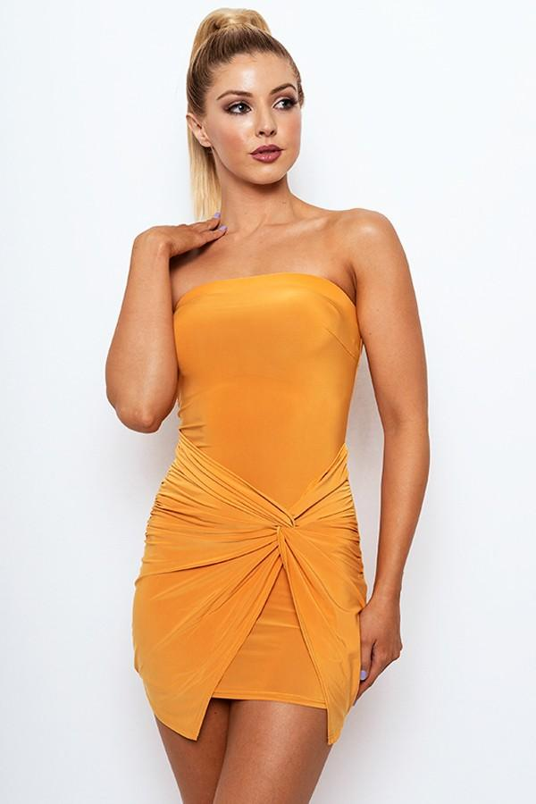 Strapless Wrap Mini Dress