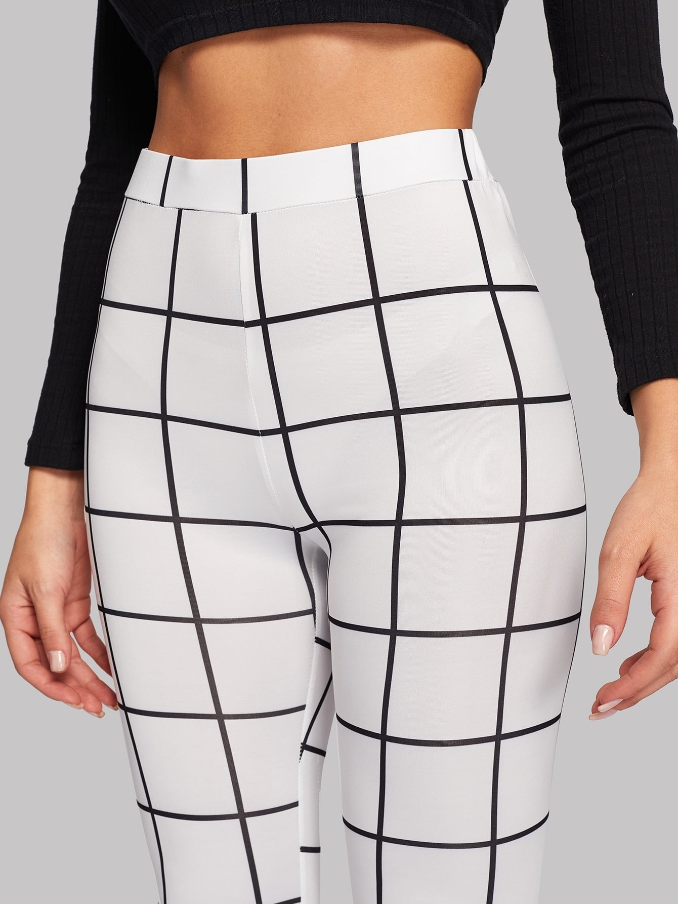 High Waist Grid Skinny Leggings
