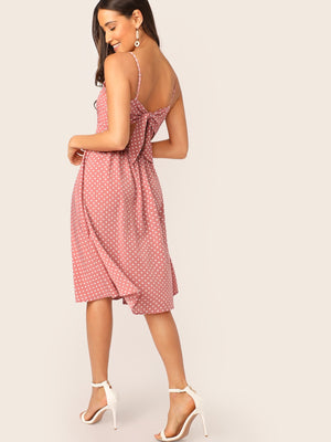 Twist Front Knot Back Polka Dot Dress