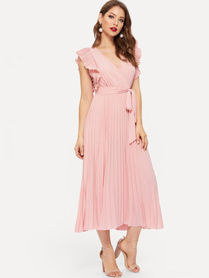 Ruffle Shoulder Surplice Belted Pleated Dress