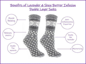 Women's Double Layer Non-Skid Warm Soft and Fuzzy Lavender & Shea Butter Infused Slipper Socks Gift