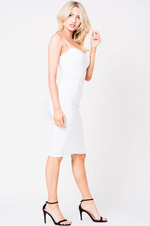 Spaghetti Straps Mesh Midi Dress