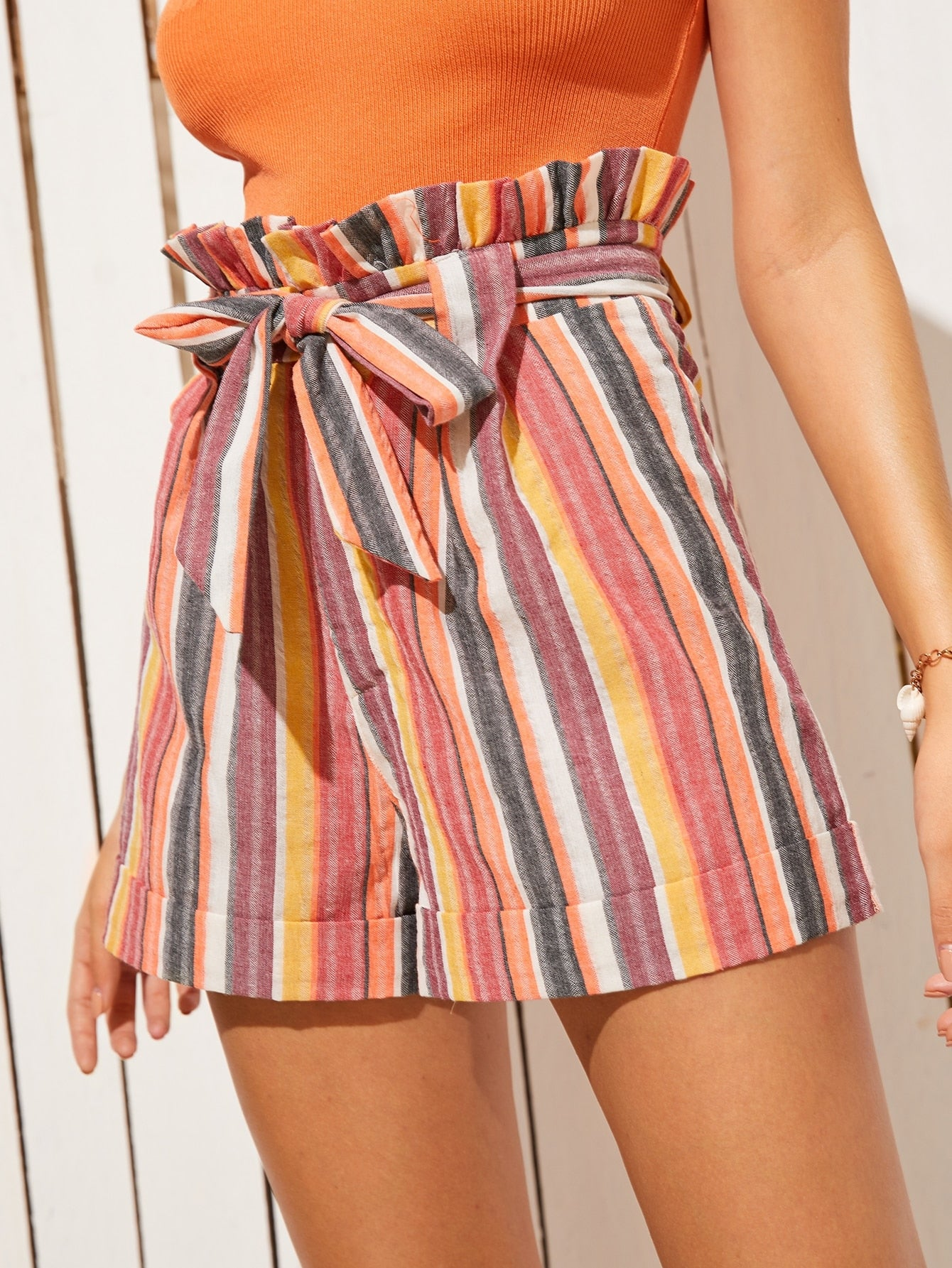 Striped Belted Paperbag Shorts