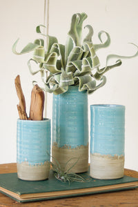 Set Of Three Ceramic Cylinder Vases