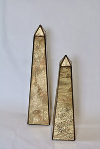 Gold Reverse Mercury Glass Obelisk (Lg)