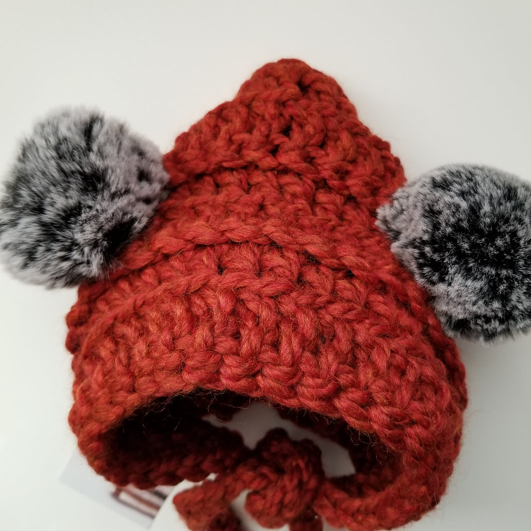 Kay-Bear Bonnet in Rust (Dusty Grey Poms)