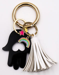 Hamsa Heart Key Ring
