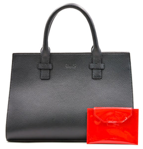 Beverly Bag - Black with Red Patent Wallet