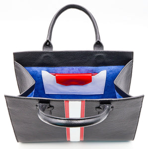 Beverly Bag - Black with Red & White Stripe