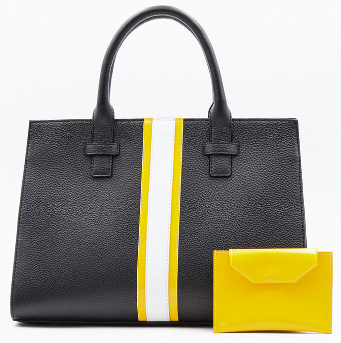 Beverly Bag - Black with Yellow & White Stripe