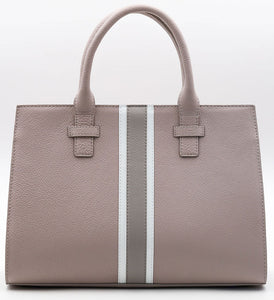 Beverly Bag - Blush with Grey & White Stripe