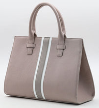 Load image into Gallery viewer, Beverly Bag - Blush with Grey & White Stripe