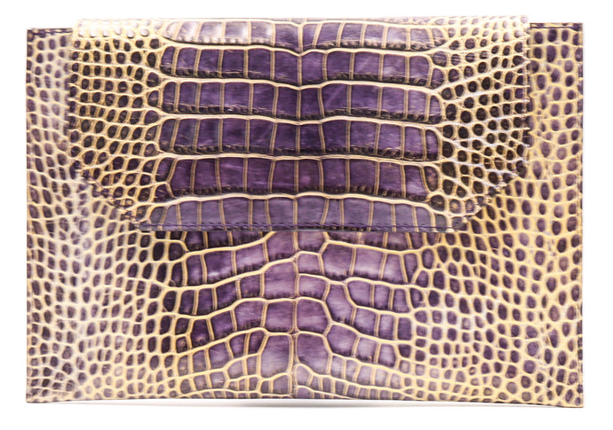 Sunset Cross Body in Purple Crocodile Embossed Leather