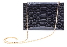 Load image into Gallery viewer, Sunset Cross Body in Black Embossed Crocodile