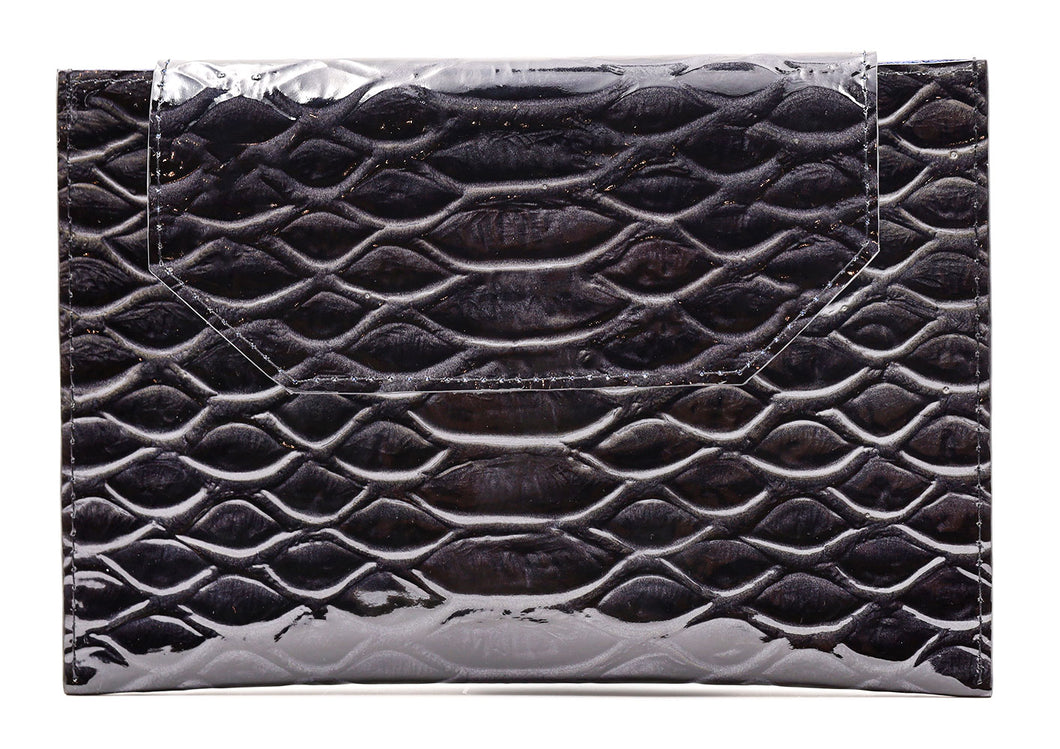 Sunset Cross Body in Black Embossed Crocodile