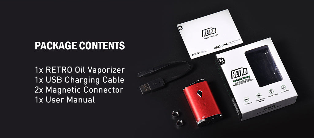 RETRO Battery Vape Mod- Oil Vaporizer Package Content