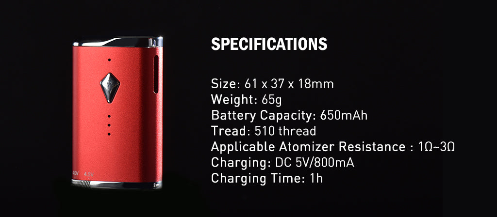 RETRO Battery Vape Mod- Oil Vaporizer Specifications