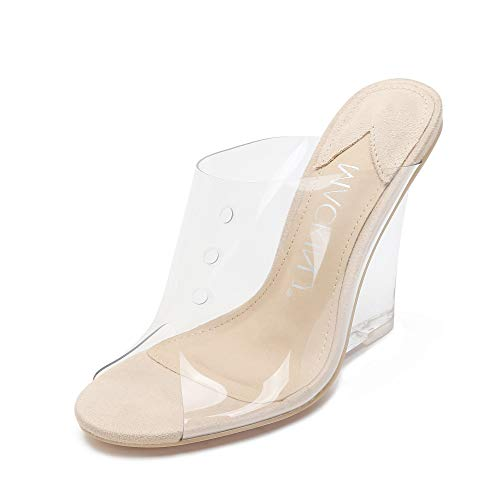 MACKIN J 405-1 Women's Lucite Clear Wedge Heel Sandals Open Toe Slip On Mule Dress Shoes (Transparent,8.5)