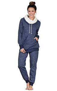 PajamaGram Cozy Womens Pajama Sets - Winter Pajamas for Women, Navy, M, 8-10