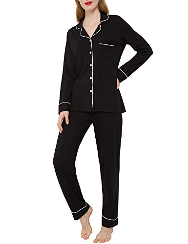 INNERSY Women's Pajamas Set Long Sleeve Sleepwear Button Down Nightwear Soft Pj Lounge Sets (M, Midnight Black )