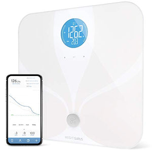 WiFi Smart Connected Body Fat Bathroom Scale by Weight Gurus (2019 Update) Backlit LCD, ITO Conductive Surface Tech, Accurate Precision Health Alerts, Measurements, and Monitoring (WiFi 2019)