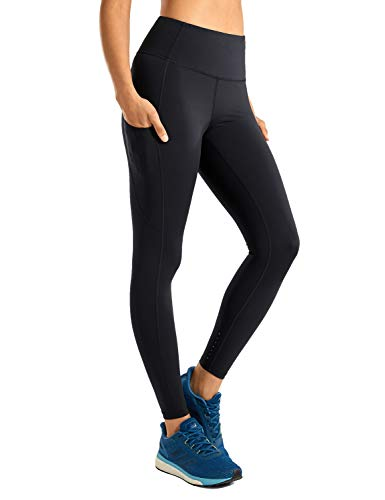 "CRZ YOGA Women's High Waisted Yoga Pants with Pockets Naked Feeling Workout Leggings-25 Inches Black 25"" S"