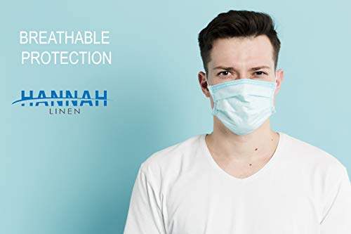 Hannah Linen 50 Pieces Set Disposable Face Masks - 3 Layer Cover / 3 Ply, Breathable masks for germ protection, Non-Woven Dust Mask with Earloop for Personal Care - Fast Ship from USA - Blue Color
