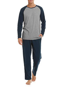 DAVID ARCHY Men's Cotton Raglan Sleepwear Long Sleeve Top & Bottom Pajama Lounge Set (L, Navy Blue)