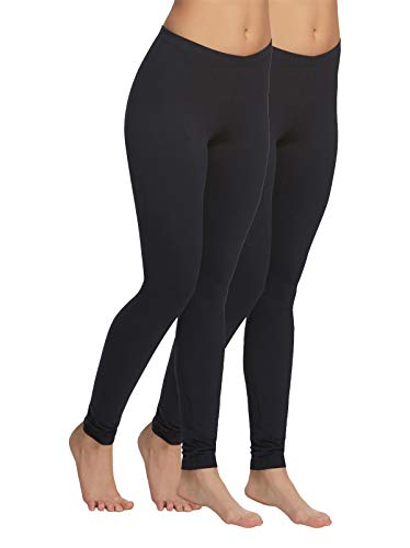 Velvety Super Soft Lightweight Legging 2-Pack (Black, Large)