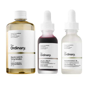 The Ordinary 3 Bottles Face Serum Set! Peeling Solution, Hyaluronic Acid And Glycolic Acid! AHA 30%+BHA 2% Peeling Solution! Hyaluronic Acid 2%+B5! Glycolic Acid 7% Toning Solution