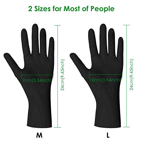 Disposable Gloves,Shipped from The US and Arrived in 7-10 Days,100pcs,Latex Free,Powder Free,Soft Industrial Gloves,Cleaning Glove for Home Use (Color:Black, Size:M)