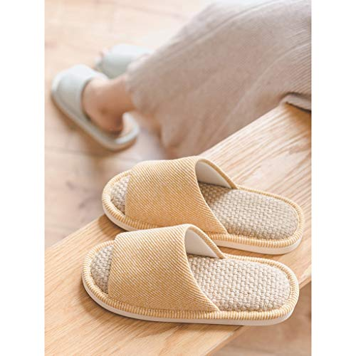 Open Toe Slide Slippers Slippers Cotton and Linen Fabric Slippers Comfortable Non-Slip Indoor Slippers Open Toe Unisex Flip Flops (Color : Green, Size : Sole Length 27.5cm)