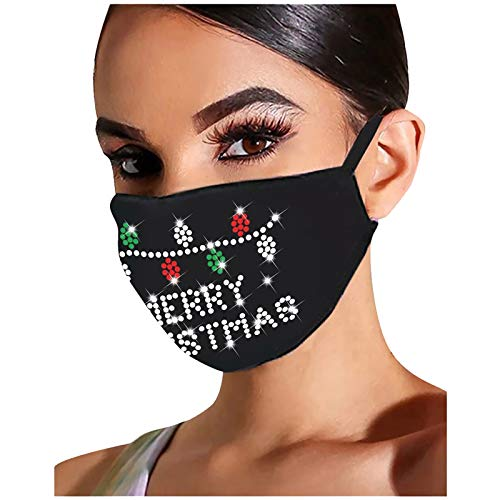 Christmas Face_mask for Adult Reusable Washable Flash Diamond Rhinestone Breathable Fashion Cotton Face Balaclavas