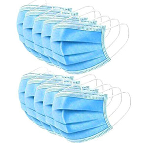 Mocure 50 PCS Disposable Face Masks Adjustable Earloop Mouth Cover 3-Layer Safety Masks