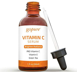goPure Vitamin C Serum for Face with Vitamin E, Ferulic Acid, Aloe Vera - Antioxidant and Anti Aging Serum, Dark Spot Remover for Face, 1-Ounce
