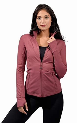 90 Degree By Reflex Women's Lightweight, Full Zip Running Track Jacket - Rose Valet - Large