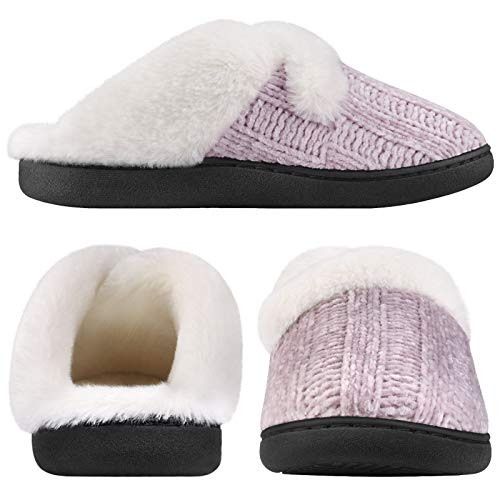 Homitem Women's Cozy Memory Foam Chenille Slippers with Memory Foam, Ladies'Fuzzy Fleece Lining Slip on House Slipper Shoes with Anti-Skid Rubber Sole Indoor Outdoor Shoes(7-8 M US,Purple