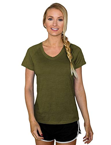 Woolx Women's Mia Lightweight Moisutre Wicking Merino Wool T Shirt That Repels Odor, Moss Heather, Large