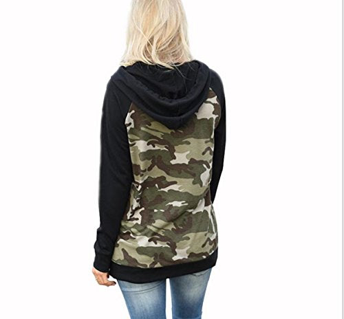 Taiduosheng Women's Long sleeve soft Pocket Hoodies Camouflage Print Pullover Hooded Sweatshirt Black,US M(Asia L,Bust 39.5inch)