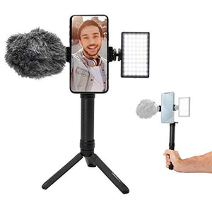 Lume Cube Mobile Creator Lighting and Audio Kit with Vlogging Stand | Lume Cube Panel Mini Light and Rode Microphone | Includes Aluminum Rotating Phone Clip for YouTube, Instagram, Twitch, TikTok