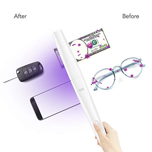 UV Light Sanitizer Wand, Portable UVC Light Disinfector Lamp Chargable Foldable for Home Hotel Travel Car Kills 99% of Germs Viruses & Bacteria 59S X5