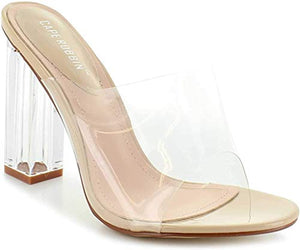 Cape Robbin Shoes Fusion Translucent Block High-Heel Mule Open Toe Sandal (8.5) Nude