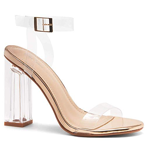 Shoe Land SL-CLLAARY Perpex Heel Ankle Strap Adjustable Buckle Lucite Clear Block Chunky High Heel Open Toe Sandal ClearRoseGold 7.0