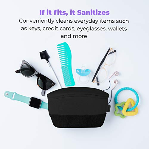 HoMedics UV Clean Phone Sanitizer Bag, Portable Fast Germ Sterilizer & UVC Light Disinfectant for Cell Phone, Makeup Tools, Credit Cards, Keys, Glasses, Kills up to 99.9% of Bacteria & Viruses, Black