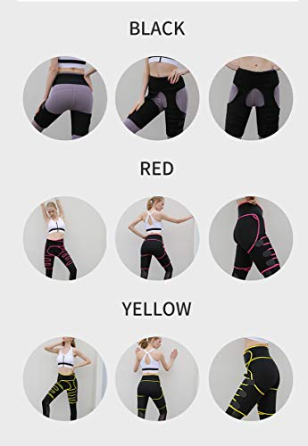 PLAZALA Waist Trainer for Women, Invisible Butt Lifter Sport Shaper Waist Trainer Thigh Trimmer for Women Weight Loss, Adjustable Belt Shapewear for Workout, Fitness, Training (Yellow, S/M)